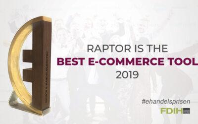 Raptor won the award for Best E-commerce tool 2019